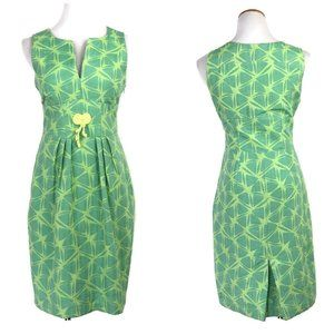 Anthro Eva Franco Lime Green Sheath Jacquard Dress